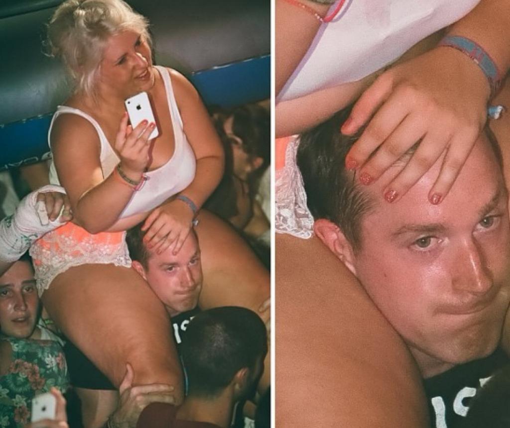 fat girl on shoulders at festival