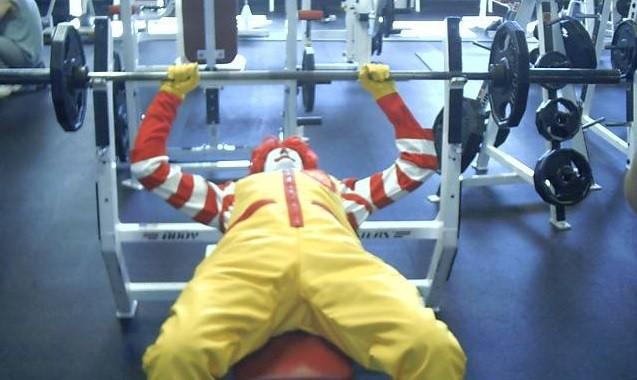 Ronald McDonald bench press